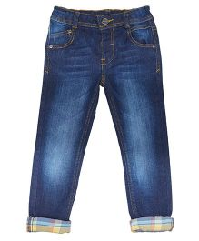 Mothercare Full Length roll Up Washed Jeans - Blue