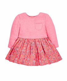 Mothercare Full Sleeves Sweat Dress Floral Print - Pink