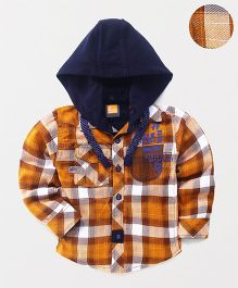 Little Kangaroos Checks Shirt With Detachable Hood - Mustard Yellow