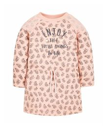 Mothercare Full Sleeves Jersey Dress  Little Things Print - Peach