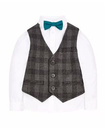 Mothercare Full Sleeves Shirt And Waist Coat Set With Bow Tie - White & Grey