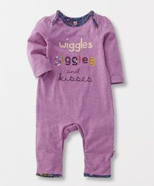Mothercare Full Sleeves Romper Text Print - Purple