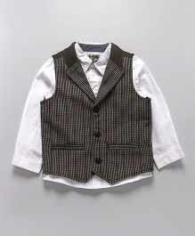 Mothercare Party Wear Full Sleeves Shirt And Waistcoat - White Black
