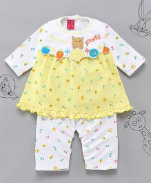 Little Bunnies Fruit Applique Long Top With Leggings - Yellow