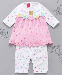 Little Bunnies Fruit Applique Long Top With Leggings - Pink
