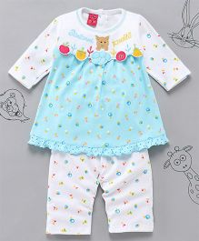 Little Bunnies Fruit Applique Long Top With Leggings - Sky Blue