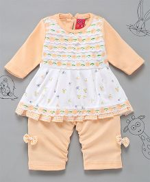 Little Bunnies Lace Applique Long Top With Leggings - Peach