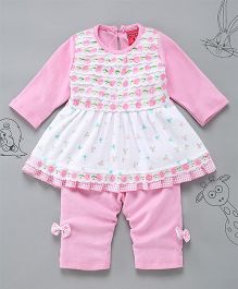 Little Bunnies Lace Applique Long Top With Leggings - Pink