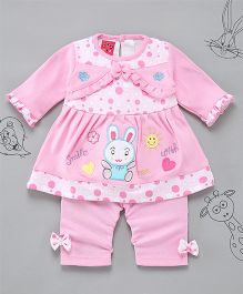 Little Bunnies Bunny Applique Long Top With Leggings - Pink