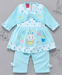 Little Bunnies Bunny Applique Long Top With Leggings - Sky Blue