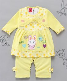 Little Bunnies Bunny Applique Long Top With Leggings - Yellow