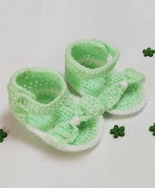 Creative Crochet Stylish Booties With Bow - Neon Green & White