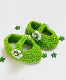 Creativecrochet Flowers Applique Booties - Green & White