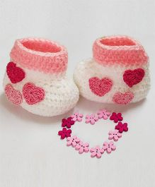 Creative Crochet Hearts Applique Ankle Length Booties - White & Baby Pink