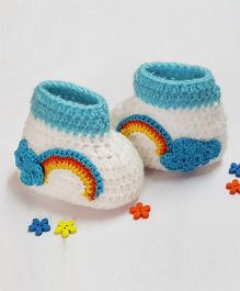 Creativecrochet Rainbow & Cloud Design Booties - White & Blue