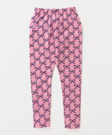 Fido Full Length Leggings Bow & Heart Print - Pink