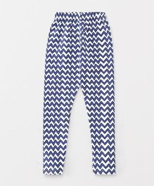 Fido Full Length Leggings Chevron Print - White & Blue