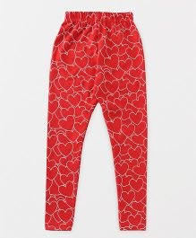Fido Full Length Leggings Heart Print - Red