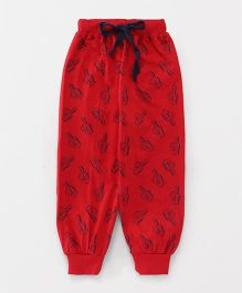 Fido Full Length Lounge Pant Printed - Red