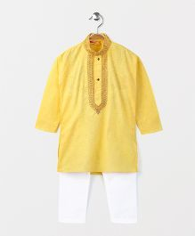 Babyhug Full Sleeves Kurta And Pajama Set - Yellow White