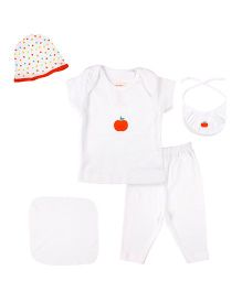 Grandma's Clothing Gift Set Apple Print Pack Of 7 - White