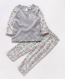 Babyhug Full Sleeves Night Suit Floral Print - Grey