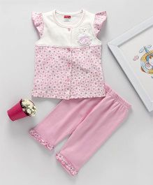 Babyhug Capri Night Suit Teddy Bear Patch - Light Pink