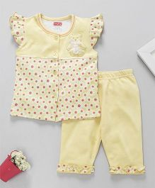 Babyhug Capri Night Suit Teddy Bear Patch - Light Yellow