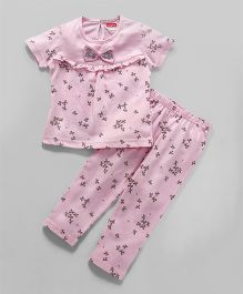 Babyhug Half Sleeves Night Suit Bow Applique - Pink