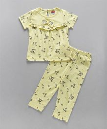 Babyhug Half Sleeves Night Suit Bow Applique - Yellow