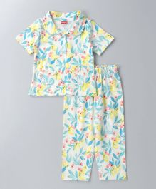 Babyhug Half Sleeves Night Suit Floral Print - Multi Color