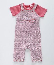 Babyhug Half Sleeves Dungaree Romper With Inner Tee Printed - Pink