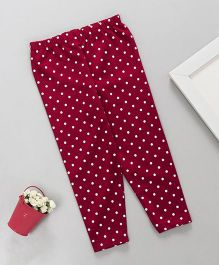 Babyhug Lycra Leggings Polka Dots Print - Red