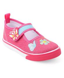 Cute Walk by Babyhug Shoes Floral Embroidery - Pink