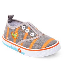 Cute Walk by Babyhug Butterfly Embroidery Casual Shoes - Orange Grey