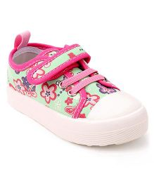 Cute Walk by Babyhug Casual Shoes Floral & Butterfly Print - Green Pink