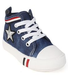 Cute Walk by Babyhug Denim Casual Shoes Star Embroidery - Blue