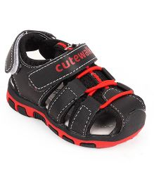 Cute Walk by Babyhug Sandals With Dual Velcro Closure - Black