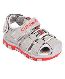 Cute Walk by Babyhug Sandals With Dual Velcro Closure - Grey