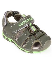 Cute Walk by Babyhug Sandals With Dual Velcro Closure - Army Green