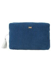 Pluchi Knitted Large Travel Or Cosmetics Purse - Blue