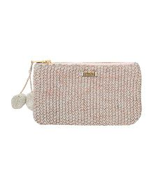 Pluchi Sienna Knitted Coin Purse - Light Grey & Copper