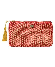 Pluchi Knitted Coin Purse - Red & Golden
