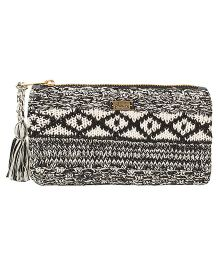 Pluchi Tropical Knitted Coin Purse - Black & White