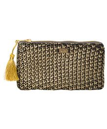 Pluchi Knitted Coin Purse With Tassel - Black & Golden