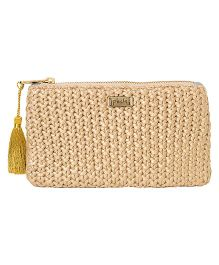 Pluchi Knitted Coin Purse With Tassel - Khaki & Golden