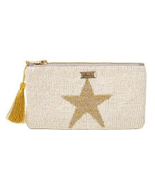 Pluchi Star Printed Knitted Coin Purse - White & Golden