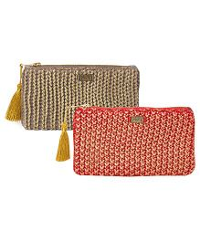 Pluchi Set Of 2 Knitted Coin Purse - Red & Grey