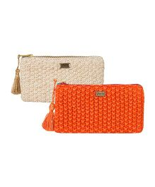 Pluchi Set Of 2 Knitted Coin Purse - Rust & Light Grey