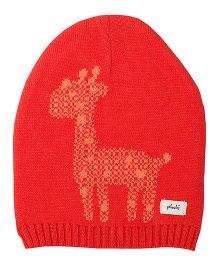 Pluchi Giraffe Knitted Baby Cap - Red